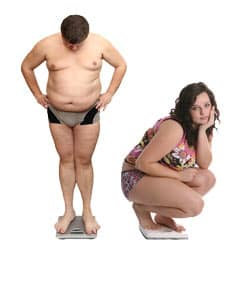Weight loss women and men disappointment concept Image
