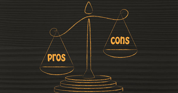 Pros and cons on a scale with pros winning