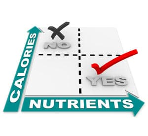 Comparison chart for calories and nutrients
