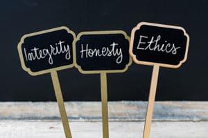 Integrity Honesty Ethics sign