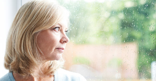 senior woman contemplating growing old