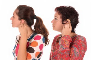 Women with hearing aids