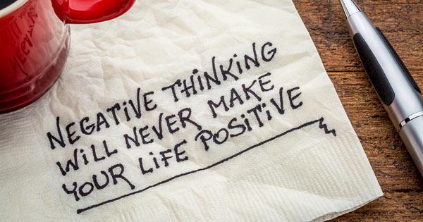 Negative Thinking on Napkin Saying