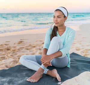 Woman relaxing after yoga