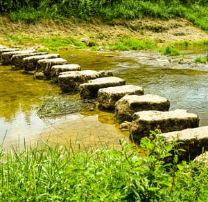 small stepping stones across stream