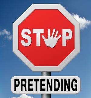 Stop pretending road sign