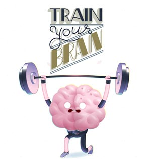 Train your brain cartoon poster