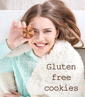 Woman with cookie and text saying gluten free cookies