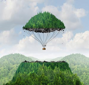Imagination concept with top of hill floating off