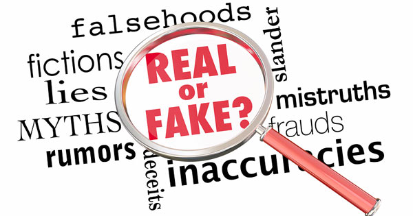 Real or Fake and related words with magnifying glass