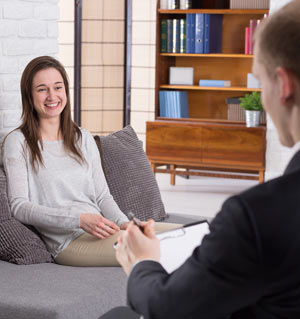 Woman smiling after therapy session