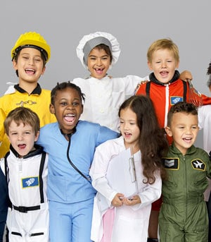 Kids and different career costumes