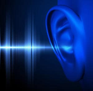 Sound waves hitting ear for auditory testing
