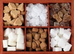 picture of different sugar types in square compartments