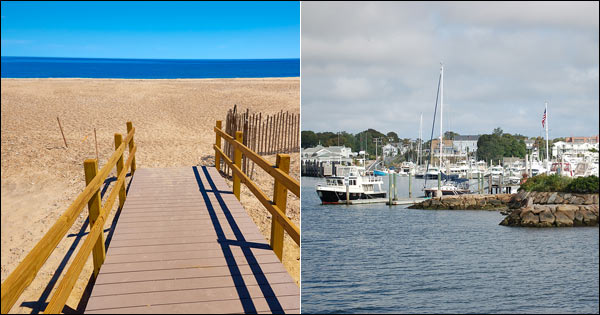 Barnstable Town montage showing Sandy Neck Beach and Hyannis Harbor