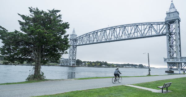 Bourne MA Railroad Bridge from Cape Cod Canal Bike Trail
