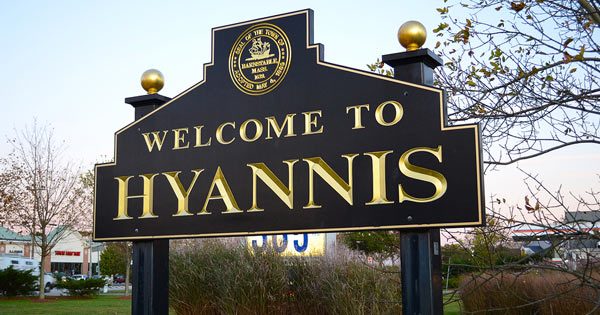 Village sign for Hyannis on Cape Cod