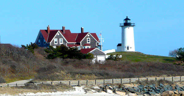 Nobska Lighthouse in Falmouth Ma from beach