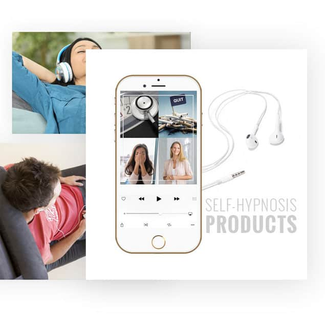 Banner image of hypnosis products with iPhone in foreground