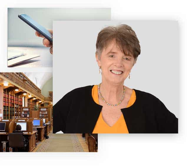 Montage image showing iphone and library and photo of Erika Slater